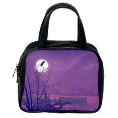 Abstract Tropical Birds Purple Sunset Classic Handbags (one Side) by WaltCurleeArt