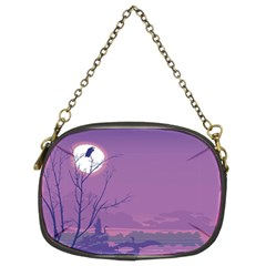 Abstract Tropical Birds Purple Sunset Chain Purses (two Sides)  by WaltCurleeArt