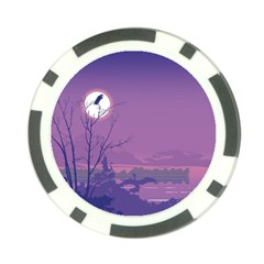 Abstract Tropical Birds Purple Sunset Poker Chip Card Guards (10 Pack)  by WaltCurleeArt