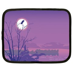 Abstract Tropical Birds Purple Sunset Netbook Case (xxl)  by WaltCurleeArt