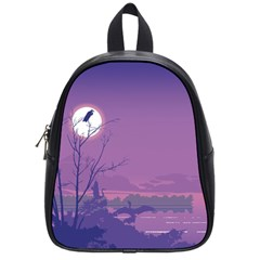 Abstract Tropical Birds Purple Sunset School Bags (small)  by WaltCurleeArt
