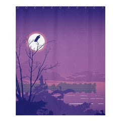 Abstract Tropical Birds Purple Sunset Shower Curtain 60  X 72  (medium)  by WaltCurleeArt