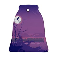 Abstract Tropical Birds Purple Sunset Ornament (bell)  by WaltCurleeArt