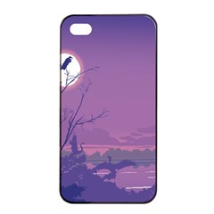 Abstract Tropical Birds Purple Sunset Apple Iphone 4/4s Seamless Case (black) by WaltCurleeArt