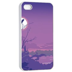 Abstract Tropical Birds Purple Sunset Apple Iphone 4/4s Seamless Case (white) by WaltCurleeArt