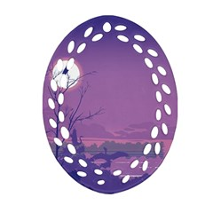 Abstract Tropical Birds Purple Sunset Oval Filigree Ornament (2 Side)  by WaltCurleeArt
