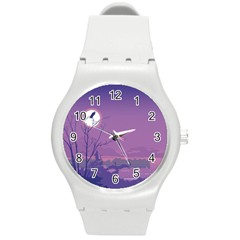 Abstract Tropical Birds Purple Sunset Round Plastic Sport Watch (m) by WaltCurleeArt