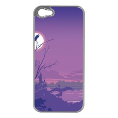 Abstract Tropical Birds Purple Sunset Apple Iphone 5 Case (silver) by WaltCurleeArt
