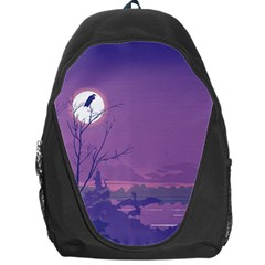 Abstract Tropical Birds Purple Sunset Backpack Bag by WaltCurleeArt