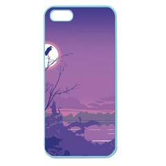 Abstract Tropical Birds Purple Sunset Apple Seamless Iphone 5 Case (color) by WaltCurleeArt