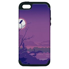 Abstract Tropical Birds Purple Sunset Apple Iphone 5 Hardshell Case (pc+silicone) by WaltCurleeArt