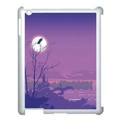 Abstract Tropical Birds Purple Sunset Apple Ipad 3/4 Case (white) by WaltCurleeArt