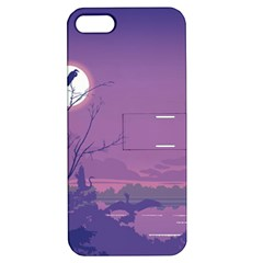 Abstract Tropical Birds Purple Sunset Apple Iphone 5 Hardshell Case With Stand by WaltCurleeArt