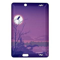 Abstract Tropical Birds Purple Sunset Amazon Kindle Fire Hd (2013) Hardshell Case by WaltCurleeArt