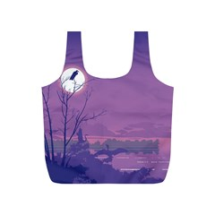 Abstract Tropical Birds Purple Sunset Full Print Recycle Bags (s)  by WaltCurleeArt