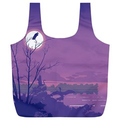 Abstract Tropical Birds Purple Sunset Full Print Recycle Bags (l)  by WaltCurleeArt