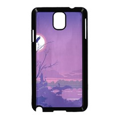 Abstract Tropical Birds Purple Sunset Samsung Galaxy Note 3 Neo Hardshell Case (black) by WaltCurleeArt