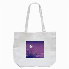 Abstract Tropical Birds Purple Sunset Tote Bag (white) by WaltCurleeArt