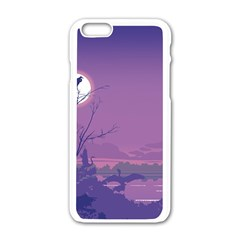 Abstract Tropical Birds Purple Sunset Apple Iphone 6/6s White Enamel Case by WaltCurleeArt
