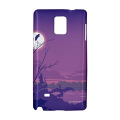 Abstract Tropical Birds Purple Sunset Samsung Galaxy Note 4 Hardshell Case by WaltCurleeArt