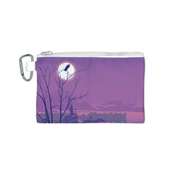 Abstract Tropical Birds Purple Sunset Canvas Cosmetic Bag (s) by WaltCurleeArt