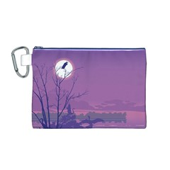 Abstract Tropical Birds Purple Sunset Canvas Cosmetic Bag (m) by WaltCurleeArt