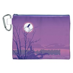 Abstract Tropical Birds Purple Sunset Canvas Cosmetic Bag (xxl)  by WaltCurleeArt