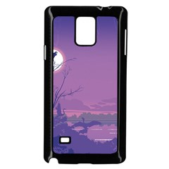 Abstract Tropical Birds Purple Sunset Samsung Galaxy Note 4 Case (black) by WaltCurleeArt