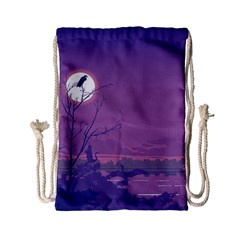 Abstract Tropical Birds Purple Sunset Drawstring Bag (small) by WaltCurleeArt