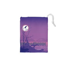 Abstract Tropical Birds Purple Sunset Drawstring Pouches (xs)  by WaltCurleeArt