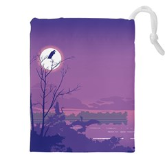 Abstract Tropical Birds Purple Sunset Drawstring Pouches (xxl)