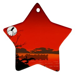 Tropical Birds Orange Sunset Landscape Ornament (star)  by WaltCurleeArt