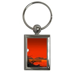 Tropical Birds Orange Sunset Landscape Key Chains (rectangle)  by WaltCurleeArt