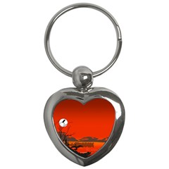 Tropical Birds Orange Sunset Landscape Key Chains (heart)  by WaltCurleeArt