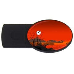 Tropical Birds Orange Sunset Landscape Usb Flash Drive Oval (2 Gb)  by WaltCurleeArt