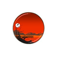 Tropical Birds Orange Sunset Landscape Hat Clip Ball Marker by WaltCurleeArt