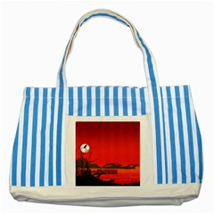 Tropical Birds Orange Sunset Landscape Striped Blue Tote Bag by WaltCurleeArt