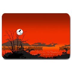 Tropical Birds Orange Sunset Landscape Large Doormat  by WaltCurleeArt