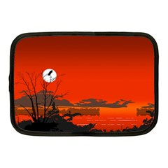 Tropical Birds Orange Sunset Landscape Netbook Case (medium)  by WaltCurleeArt