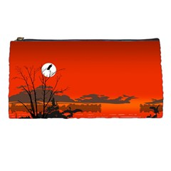 Tropical Birds Orange Sunset Landscape Pencil Cases by WaltCurleeArt