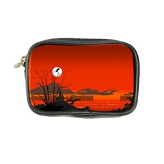 Tropical Birds Orange Sunset Landscape Coin Purse by WaltCurleeArt