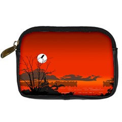 Tropical Birds Orange Sunset Landscape Digital Camera Cases by WaltCurleeArt
