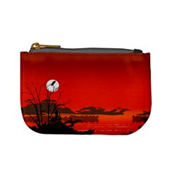 Tropical Birds Orange Sunset Landscape Mini Coin Purses by WaltCurleeArt