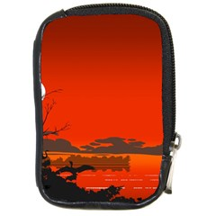 Tropical Birds Orange Sunset Landscape Compact Camera Cases by WaltCurleeArt