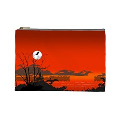 Tropical Birds Orange Sunset Landscape Cosmetic Bag (large)  by WaltCurleeArt