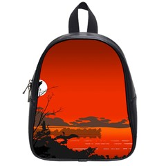 Tropical Birds Orange Sunset Landscape School Bags (small)  by WaltCurleeArt
