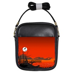 Tropical Birds Orange Sunset Landscape Girls Sling Bags by WaltCurleeArt