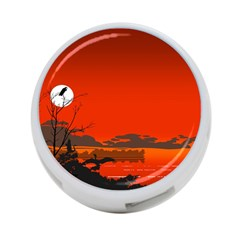 Tropical Birds Orange Sunset Landscape 4 Port Usb Hub (two Sides)  by WaltCurleeArt