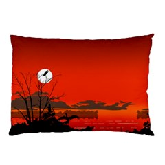 Tropical Birds Orange Sunset Landscape Pillow Case (two Sides) by WaltCurleeArt