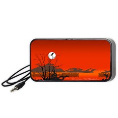 Tropical Birds Orange Sunset Landscape Portable Speaker (black)  by WaltCurleeArt
